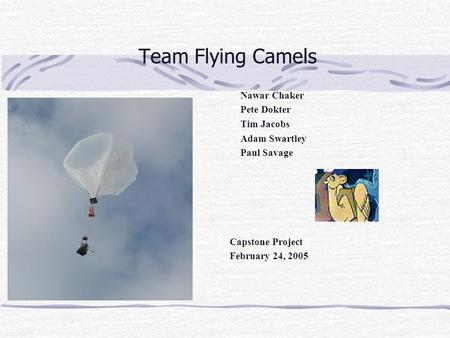 Team Flying Camels Nawar Chaker Pete Dokter Tim Jacobs Adam Swartley Paul Savage Capstone Project February 24, 2005.