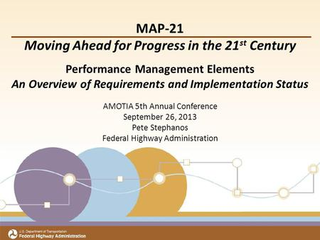 Title Subtitle Meeting Date Office of Transportation Performance Management MAP-21 Moving Ahead for Progress in the 21 st Century Performance Management.