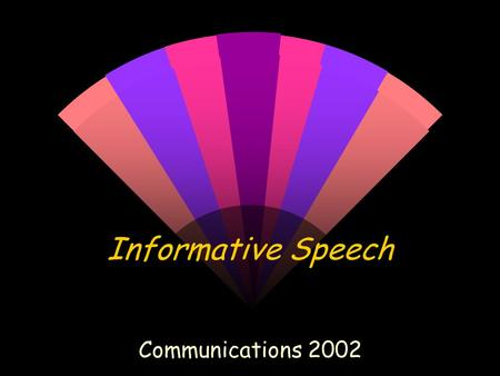 Informative Speech Communications 2002 Choosing a Topic w Something that you are interested in. w You want to TEACH or INFORM your audience. w Not too.