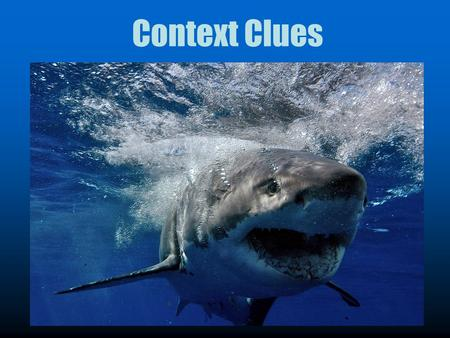 Context Clues. To find context clues you have to think like a shark!