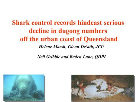 Shark control records hindcast serious decline in dugong numbers off the urban coast of Queensland Helene Marsh, Glenn De'ath, JCU Neil Gribble and Baden.