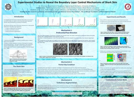 Experimental Studies to Reveal the Boundary Layer Control Mechanisms of Shark Skin Dr. Amy Lang, Department of Aerospace Engineering & Mechanics, University.