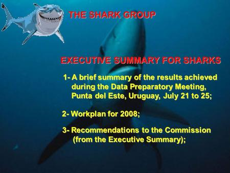 THE SHARK GROUP 1- A brief summary of the results achieved during the Data Preparatory Meeting, during the Data Preparatory Meeting, Punta del Este, Uruguay,