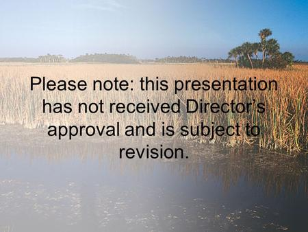 Please note: this presentation has not received Director's approval and is subject to revision.