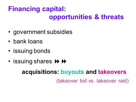 Financing capital: opportunities & threats government subsidies bank loans issuing bonds issuing shares  acquisitions: buyouts and takeovers (takeover.