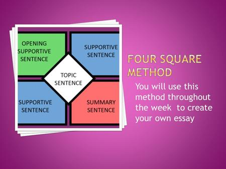 You will use this method throughout the week to create your own essay.