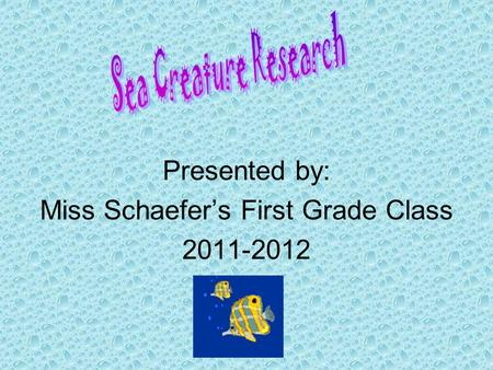 Presented by: Miss Schaefer's First Grade Class 2011-2012.