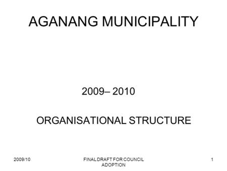 2009/10FINAL DRAFT FOR COUNCIL ADOPTION 1 AGANANG MUNICIPALITY 2009– 2010 ORGANISATIONAL STRUCTURE.