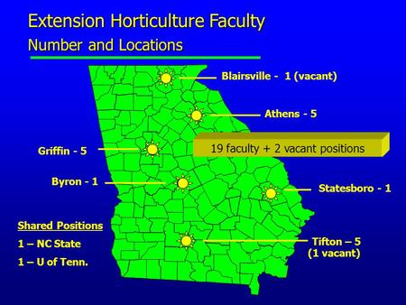 Extension Horticulture Faculty Number and Locations Athens - 5 Tifton – 5 (1 vacant) Byron - 1 Griffin - 5 Statesboro - 1 Blairsville - 1 (vacant) Shared.