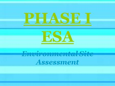 PHASE I ESA Environmental Site Assessment. PURPOSE PRODVIDE PROFESSIONAL OPINION ON THE POTENTIAL FOR CURRENT PRESEMCE PF (REC'S) AT THE SUBJECT PROPERTY.