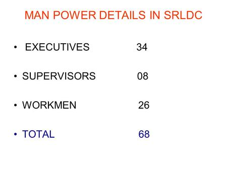 MAN POWER DETAILS IN SRLDC EXECUTIVES 34 SUPERVISORS 08 WORKMEN 26 TOTAL 68.