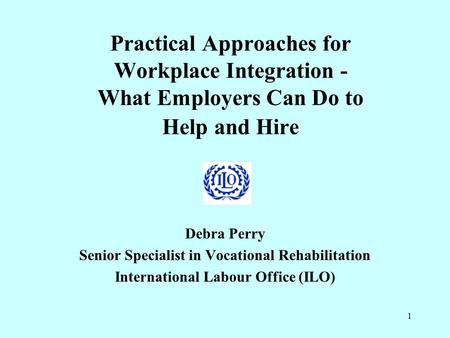 1 Practical Approaches for Workplace Integration - What Employers Can Do to Help and Hire Debra Perry Senior Specialist in Vocational Rehabilitation International.