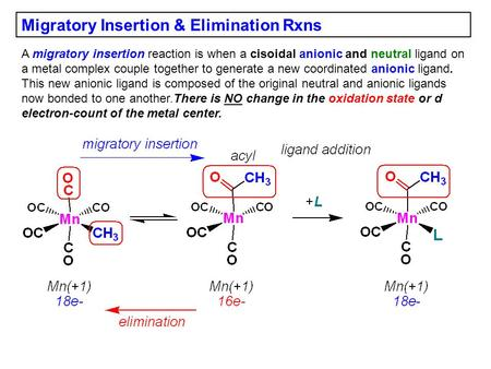 Migratory Insertion & Elimination Rxns A migratory insertion reaction is when a cisoidal anionic and neutral ligand on a metal complex couple together.