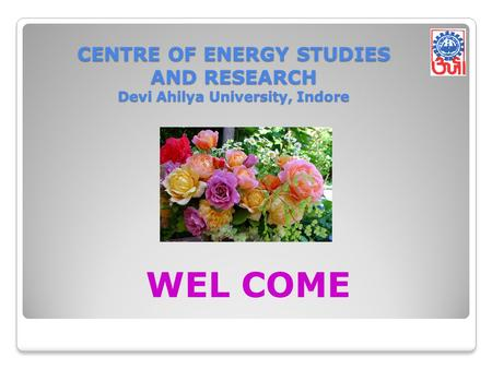 CENTRE OF ENERGY STUDIES AND RESEARCH Devi Ahilya University, Indore WEL COME.