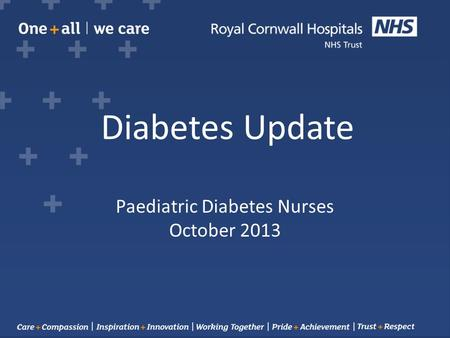 Paediatric Diabetes Nurses October 2013 Diabetes Update.