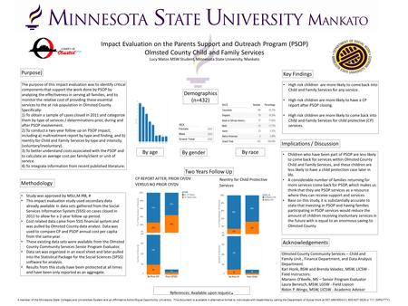 Impact Evaluation on the Parents Support and Outreach Program (PSOP) Olmsted County Child and Family Services Lucy Matos MSW Student, Minnesota State University,