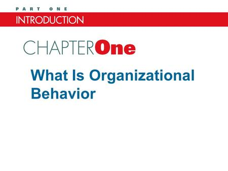 What Is Organizational Behavior Chapter One. After studying this chapter, you should be able to: 1.Define organizational behavior (OB). 2.Describe what.