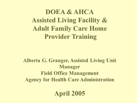 Assisted Living Facility & Adult Family Care Home Provider Training