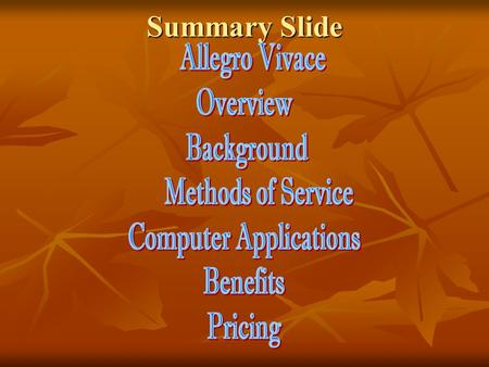 Summary Slide Allegro Vivace (Fast and Lively) Your Logo Here Automated Financial Reconciliations Website – www.allegrovivacedr.com Automated Financial.
