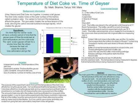 Temperature of Diet Coke vs. Time of Geyser By: Mark, Brianne, Tanya, Will, Mara Background Information When Mentos and Diet Coke mix together, it creates.