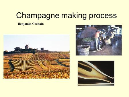 Champagne making process Benjamin Cochain. Introduction Dom Perignon  wines refermented during spring  birth of Champagne Champagne is the most northerly.