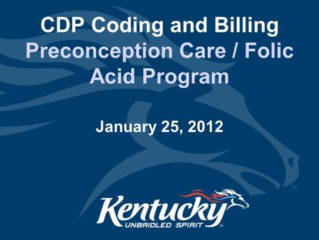 CDP Coding and Billing Preconception Care / Folic Acid Program January 25, 2012.