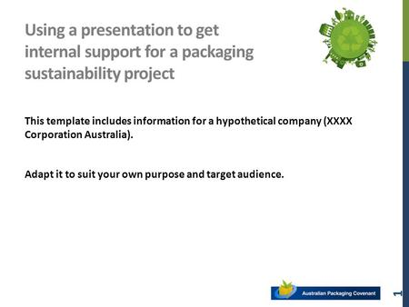 Using a presentation to get internal support for a packaging sustainability project This template includes information for a hypothetical company (XXXX.