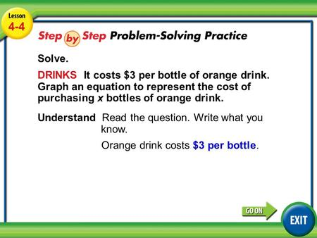 Lesson 4-4 Example 4 4-4 Solve. DRINKS It costs $3 per bottle of orange drink. Graph an equation to represent the cost of purchasing x bottles of orange.