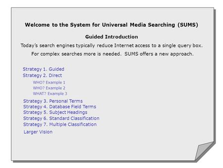 Welcome to the System for Universal Media Searching (SUMS) Guided Introduction Today's search engines typically reduce Internet access to a single query.