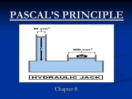 PASCAL'S PRINCIPLE Chapter 8. Lets Review… What is pressure? What is the equation for pressure? What causes fluid pressure? When you catch a deep-sea.