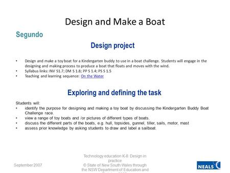 Design and make a toy boat for a Kindergarten buddy to use in a boat challenge. Students will engage in the designing and making process to produce a boat.
