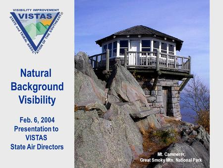 Natural Background Visibility Feb. 6, 2004 Presentation to VISTAS State Air Directors Mt. Cammerer, Great Smoky Mtn. National Park.