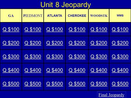Unit 8 Jeopardy Final Jeopardy GAPIEDMONT ATLANTACHEROKEE WOODSTK WMS Q $100 Q $200 Q $300 Q $400 Q $500.