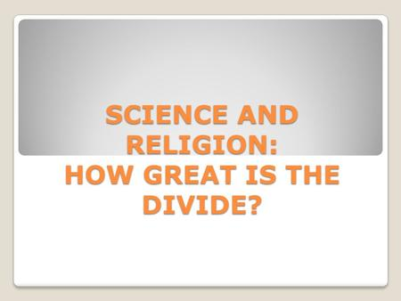 Thesis on science and religion
