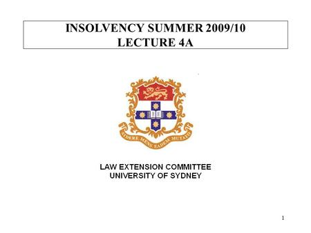 "INSOLVENCY SUMMER 2009/10 LECTURE 4A 1. INSOLVENCY SUMMER 2009/2010 KEY DATES IN A BANKRUPTCY ""the date of the bankruptcy"" - s 5 [Nichols 64]s 5 ""the."