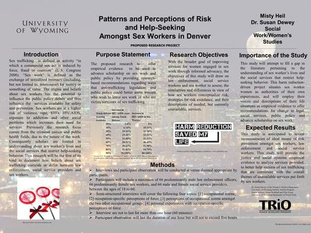 Patterns and Perceptions of Risk and Help-Seeking Amongst Sex Workers in Denver Misty Heil Dr. Susan Dewey Social Work/Women's Studies PROPOSED RESEARCH.
