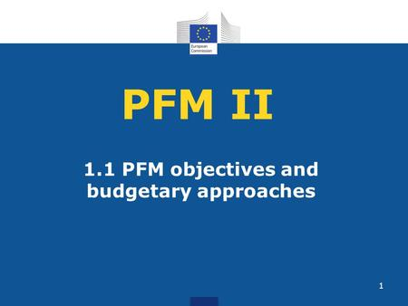 1.1 PFM objectives and budgetary approaches