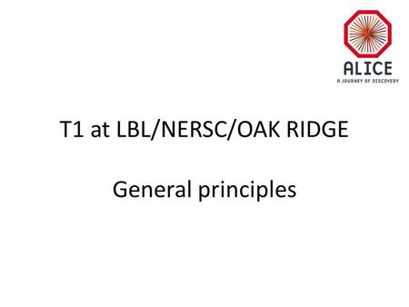 T1 at LBL/NERSC/OAK RIDGE General principles. RAW data flow T0 disk buffer DAQ & HLT CERN Tape AliEn FC Raw data Condition & Calibration & data DB disk.