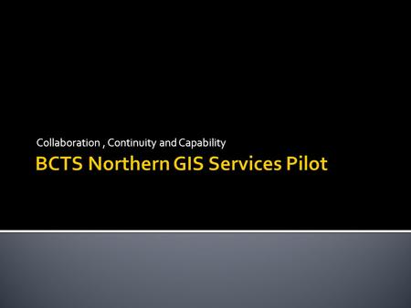 Collaboration, Continuity and Capability.  4 participating B.A.s (TCC, TPG, TPL and TSN)  9 GIS staff with 1 GIS Coordinator - HQ  Pooled resources.