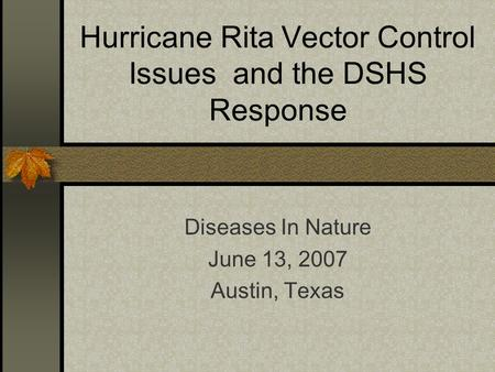 Hurricane Rita Vector Control Issues and the DSHS Response Diseases In Nature June 13, 2007 Austin, Texas.