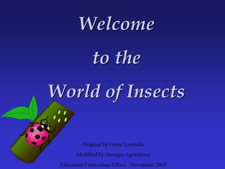 Original by Grant Lambdin Modified by Georgia Agriculture Education Curriculum Office –November 2005 Welcome to the World of Insects.