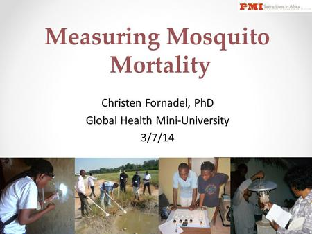 Measuring Mosquito Mortality Christen Fornadel, PhD Global Health Mini-University 3/7/14.