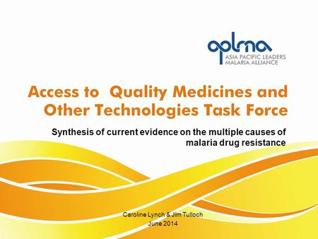 Caroline Lynch & Jim Tulloch June 2014 Synthesis of current evidence on the multiple causes of malaria drug resistance.