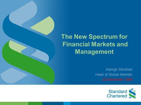 The New Spectrum for Financial Markets and Management Alamgir Morshed Head of Global Markets 22 December 2009.