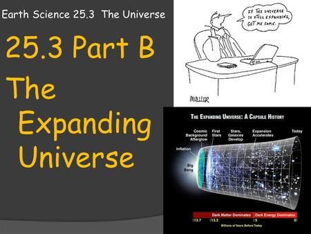Earth Science 25.3 The Universe 25.3 Part B The Expanding Universe.