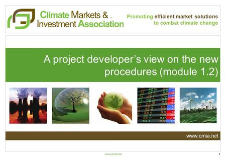 Www.cmia.net An Introduction to the: Carbon Markets & Investors Association Promoting efficient market solutions to combat climate change A project developer's.