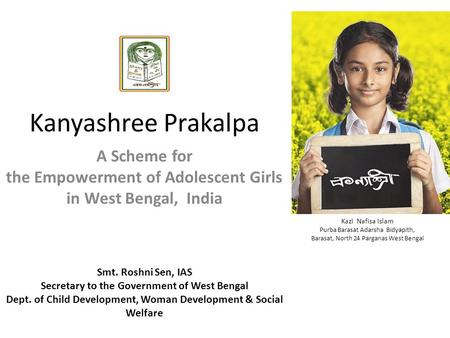 A <strong>Scheme</strong> for the Empowerment of Adolescent Girls in West Bengal, India