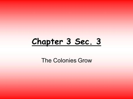 Chapter 3 Sec. 3 The Colonies Grow. I. England and the Colonies. In 1660 England had two groups of colonies: 1.The New England colonies run by private.