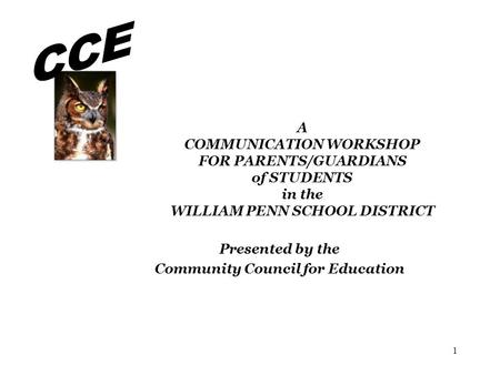 Presented by the Community Council for Education
