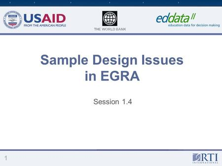 Sample Design Issues in EGRA